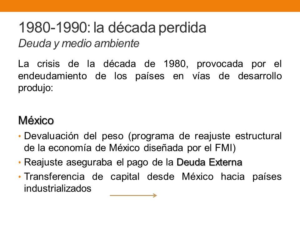 1980-1990: la década perdida Deuda y medio ambiente La crisis de la década de 1980, provocada por el endeudamiento de los países en vías de desarrollo produjo:México Devaluación del peso (programa de reajuste estructural de la economía de México diseñada por el FMI) Deuda Externa Reajuste aseguraba el pago de la Deuda Externa Transferencia de capital desde México hacia países industrializados