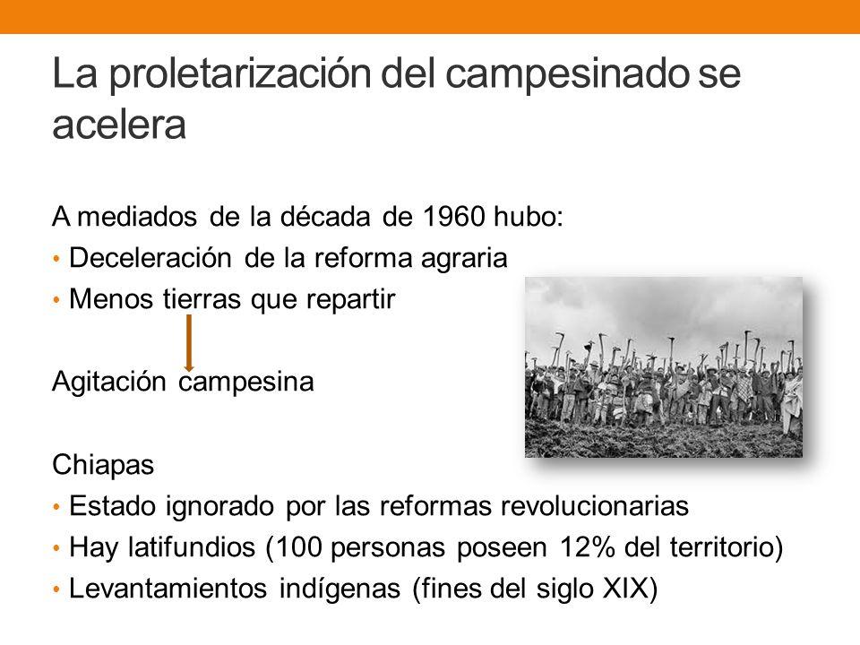 La proletarización del campesinado se acelera A mediados de la década de 1960 hubo: Deceleración de la reforma agraria Menos tierras que repartir Agitación campesina Chiapas Estado ignorado por las reformas revolucionarias Hay latifundios (100 personas poseen 12% del territorio) Levantamientos indígenas (fines del siglo XIX)