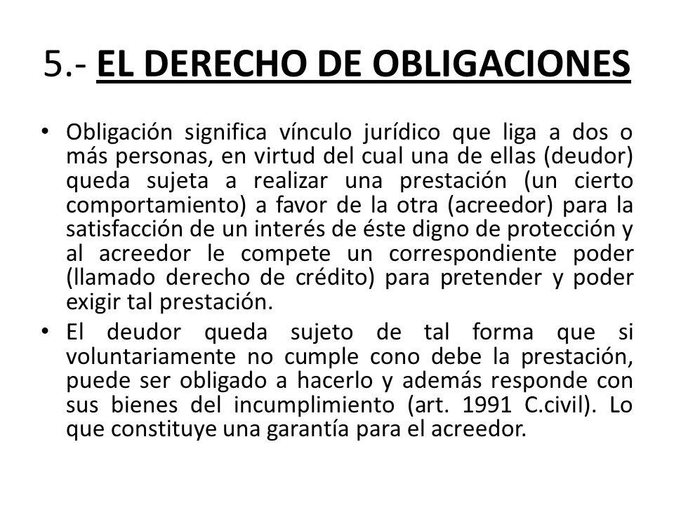 5.- EL DERECHO DE OBLIGACIONES Obligación significa vínculo jurídico que liga a dos o más personas, en virtud del cual una de ellas (deudor) queda suj