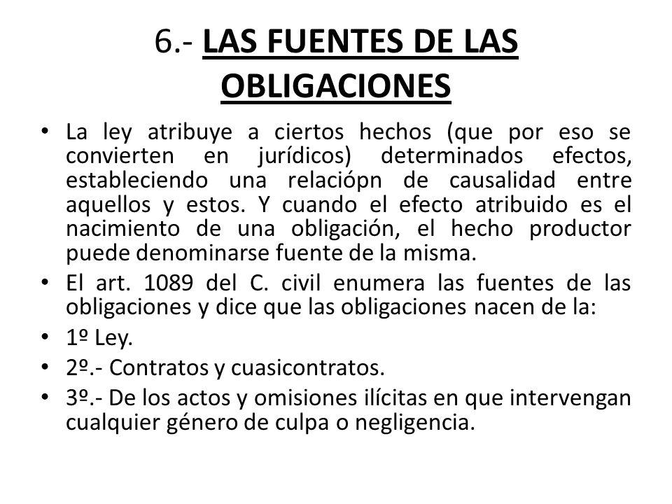 6.- LAS FUENTES DE LAS OBLIGACIONES La ley atribuye a ciertos hechos (que por eso se convierten en jurídicos) determinados efectos, estableciendo una