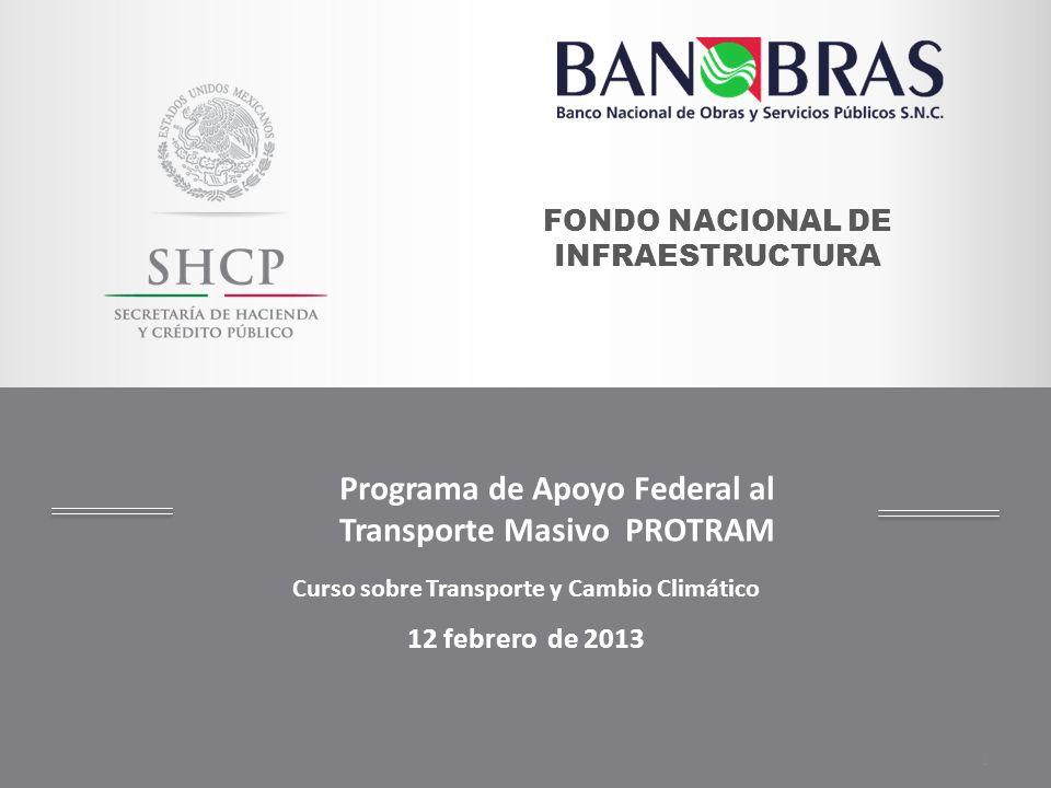 Curso sobre Transporte y Cambio Climático 12 febrero de 2013 1 FONDO NACIONAL DE INFRAESTRUCTURA Programa de Apoyo Federal al Transporte Masivo PROTRA
