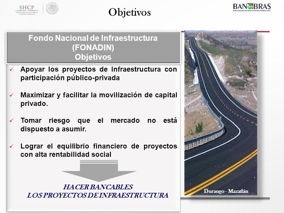 Apoyar los proyectos de Infraestructura con participación público-privada Maximizar y facilitar la movilización de capital privado. Tomar riesgo que e