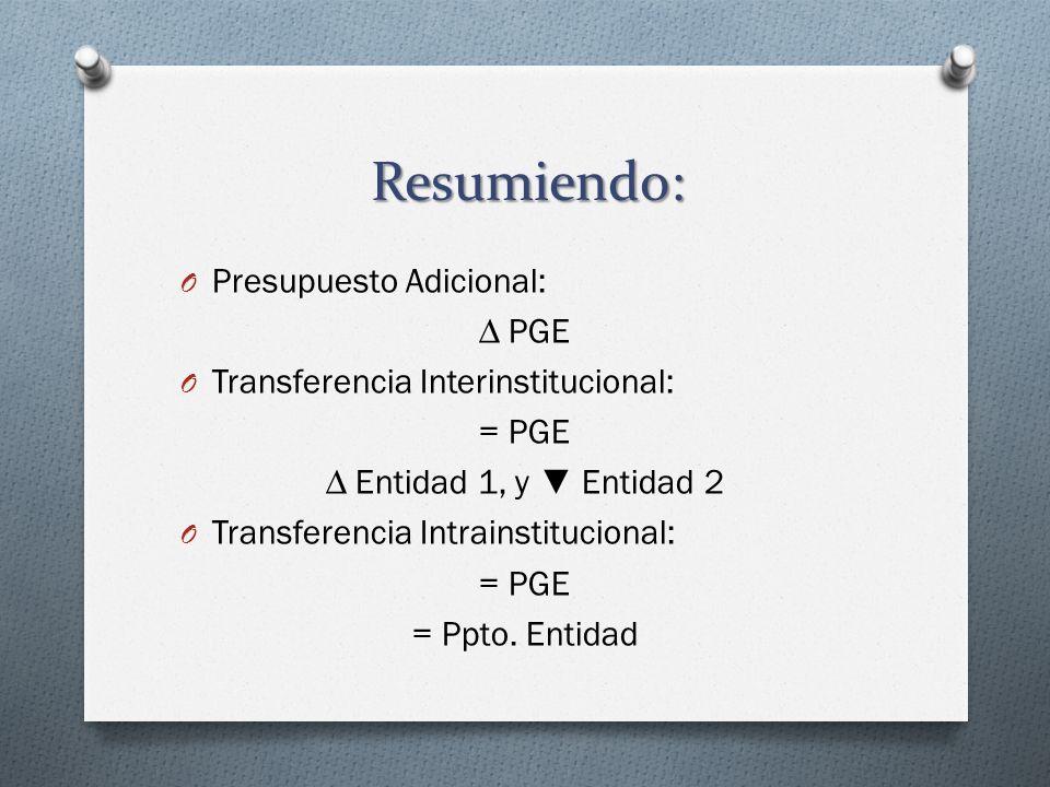 Resumiendo: O Presupuesto Adicional: PGE O Transferencia Interinstitucional: = PGE Entidad 1, y Entidad 2 O Transferencia Intrainstitucional: = PGE =