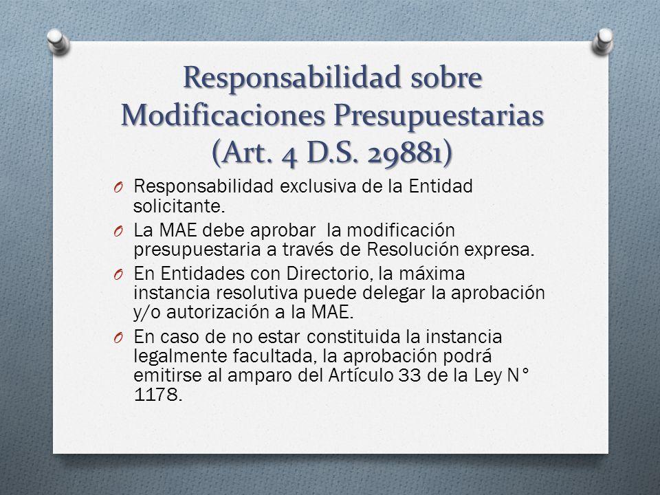 Responsabilidad sobre Modificaciones Presupuestarias (Art. 4 D.S. 29881) O Responsabilidad exclusiva de la Entidad solicitante. O La MAE debe aprobar