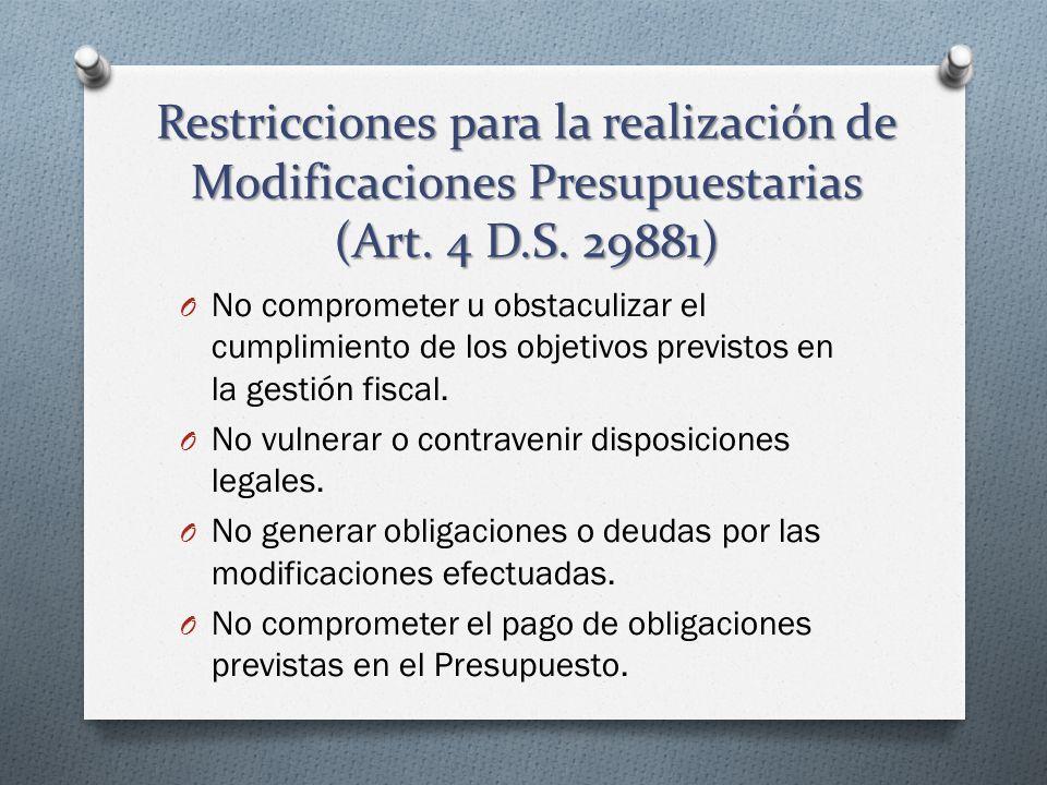 Restricciones para la realización de Modificaciones Presupuestarias (Art. 4 D.S. 29881) O No comprometer u obstaculizar el cumplimiento de los objetiv