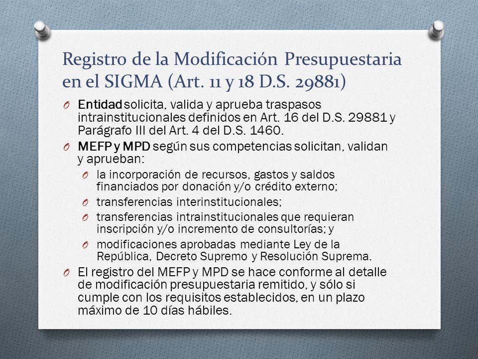 Registro de la Modificación Presupuestaria en el SIGMA (Art. 11 y 18 D.S. 29881) O Entidad solicita, valida y aprueba traspasos intrainstitucionales d