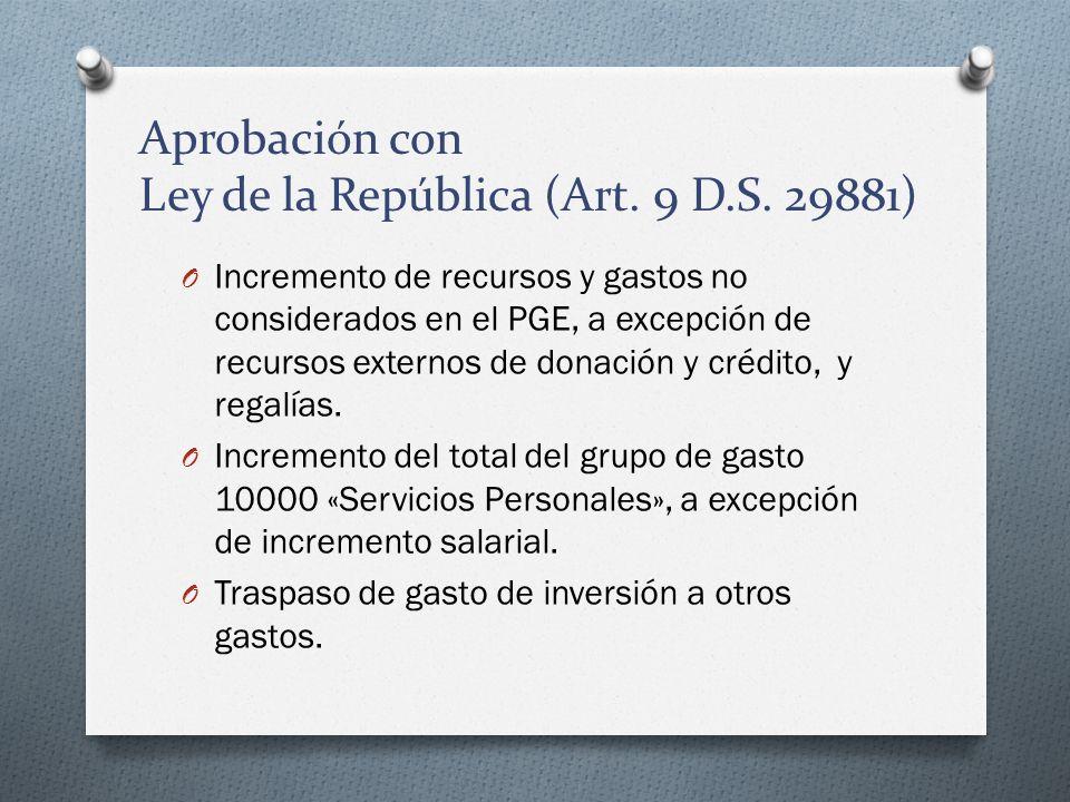 Aprobación con Ley de la República (Art. 9 D.S. 29881) O Incremento de recursos y gastos no considerados en el PGE, a excepción de recursos externos d