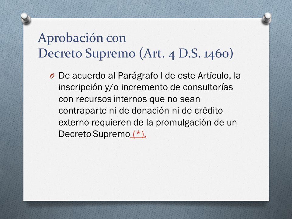 Aprobación con Decreto Supremo (Art. 4 D.S. 1460) O De acuerdo al Parágrafo I de este Artículo, la inscripción y/o incremento de consultorías con recu