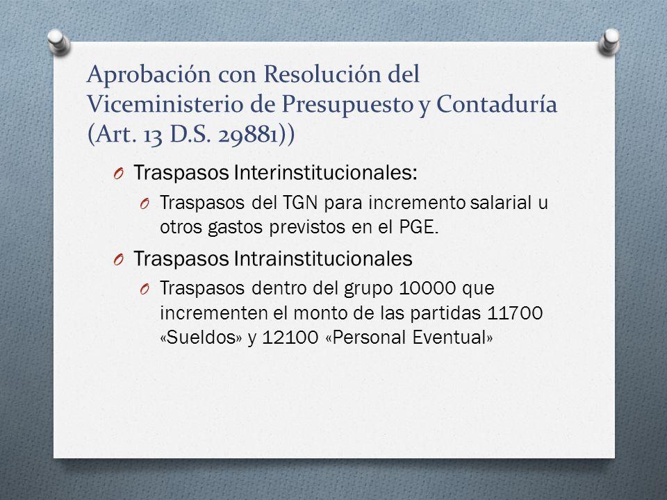 Aprobación con Resolución del Viceministerio de Presupuesto y Contaduría (Art. 13 D.S. 29881)) O Traspasos Interinstitucionales: O Traspasos del TGN p