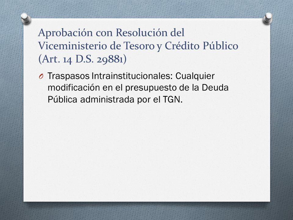 Aprobación con Resolución del Viceministerio de Tesoro y Crédito Público (Art. 14 D.S. 29881) O Traspasos Intrainstitucionales: Cualquier modificación