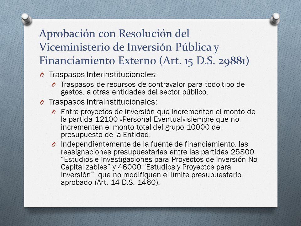 Aprobación con Resolución del Viceministerio de Inversión Pública y Financiamiento Externo (Art. 15 D.S. 29881) O Traspasos Interinstitucionales: O Tr