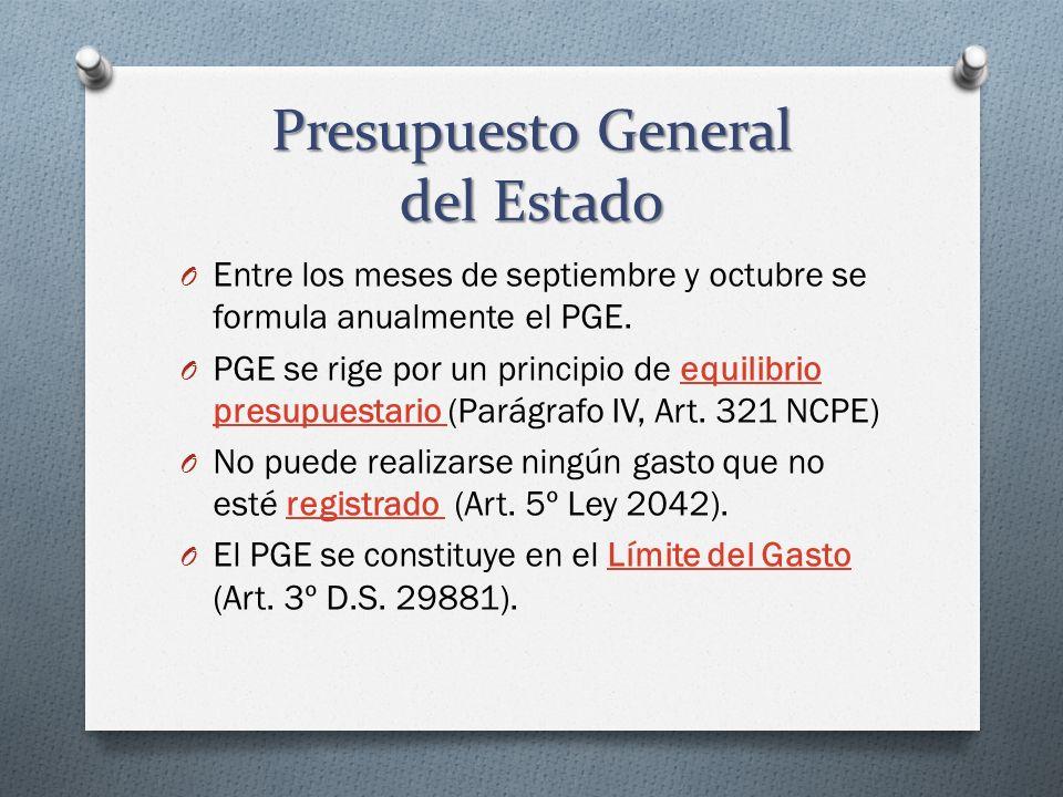 Presupuesto General del Estado O Entre los meses de septiembre y octubre se formula anualmente el PGE. O PGE se rige por un principio de equilibrio pr