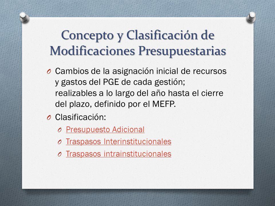 Concepto y Clasificación de Modificaciones Presupuestarias O Cambios de la asignación inicial de recursos y gastos del PGE de cada gestión; realizable