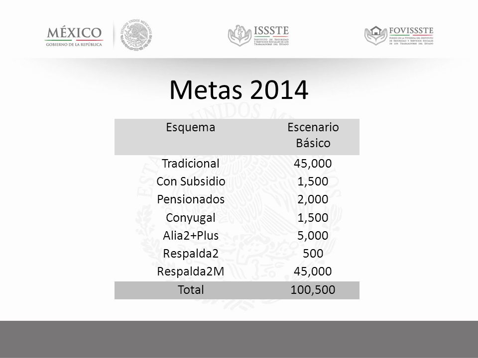 Metas 2014 EsquemaEscenario Básico Tradicional45,000 Con Subsidio1,500 Pensionados2,000 Conyugal1,500 Alia2+Plus5,000 Respalda2500 Respalda2M45,000 Total100,500