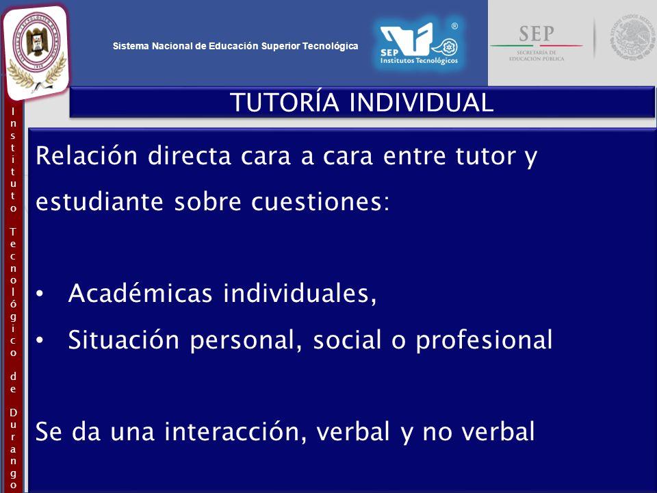 Sistema Nacional de Educación Superior Tecnológica InstitutoTecnológicodeDurangoInstitutoTecnológicodeDurango TUTORÍA INDIVIDUAL Relación directa cara