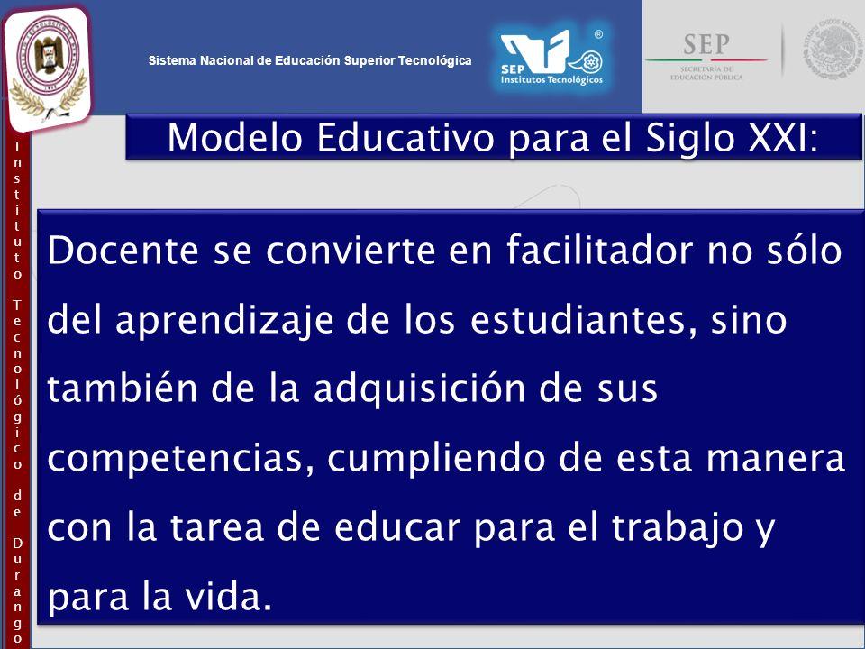 Sistema Nacional de Educación Superior Tecnológica InstitutoTecnológicodeDurangoInstitutoTecnológicodeDurango Modelo Educativo para el Siglo XXI: Doce