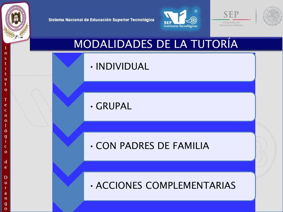 Sistema Nacional de Educación Superior Tecnológica InstitutoTecnológicodeDurangoInstitutoTecnológicodeDurango MODALIDADES DE LA TUTORÍA INDIVIDUALGRUP