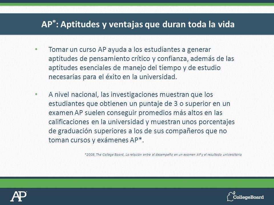 Tomar un curso AP ayuda a los estudiantes a generar aptitudes de pensamiento crítico y confianza, además de las aptitudes esenciales de manejo del tie