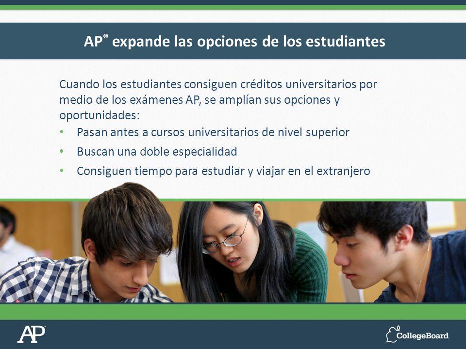Cuando los estudiantes consiguen créditos universitarios por medio de los exámenes AP, se amplían sus opciones y oportunidades: Pasan antes a cursos u