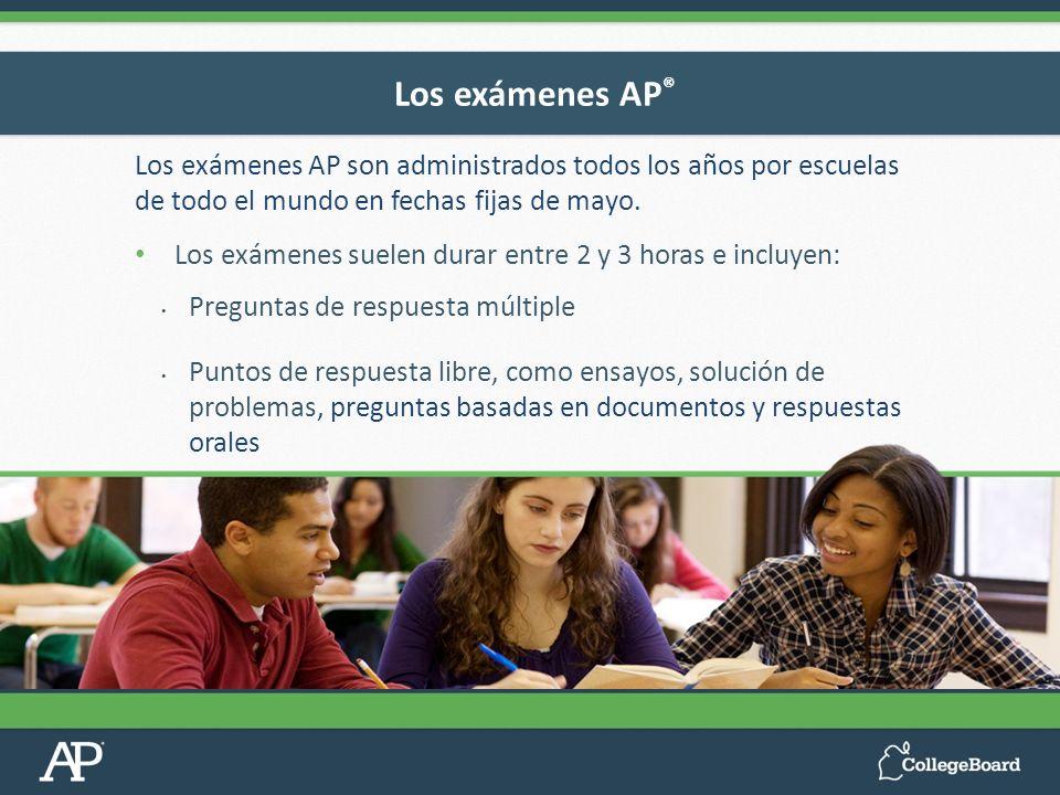 Los exámenes AP son administrados todos los años por escuelas de todo el mundo en fechas fijas de mayo. Los exámenes suelen durar entre 2 y 3 horas e