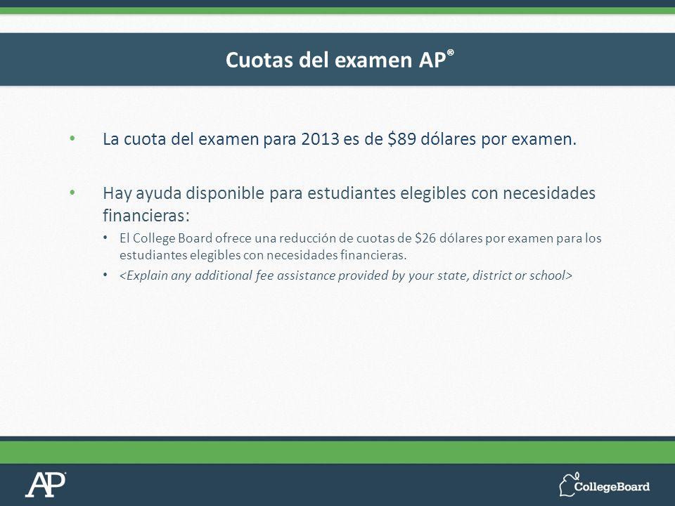 La cuota del examen para 2013 es de $89 dólares por examen. Hay ayuda disponible para estudiantes elegibles con necesidades financieras: El College Bo