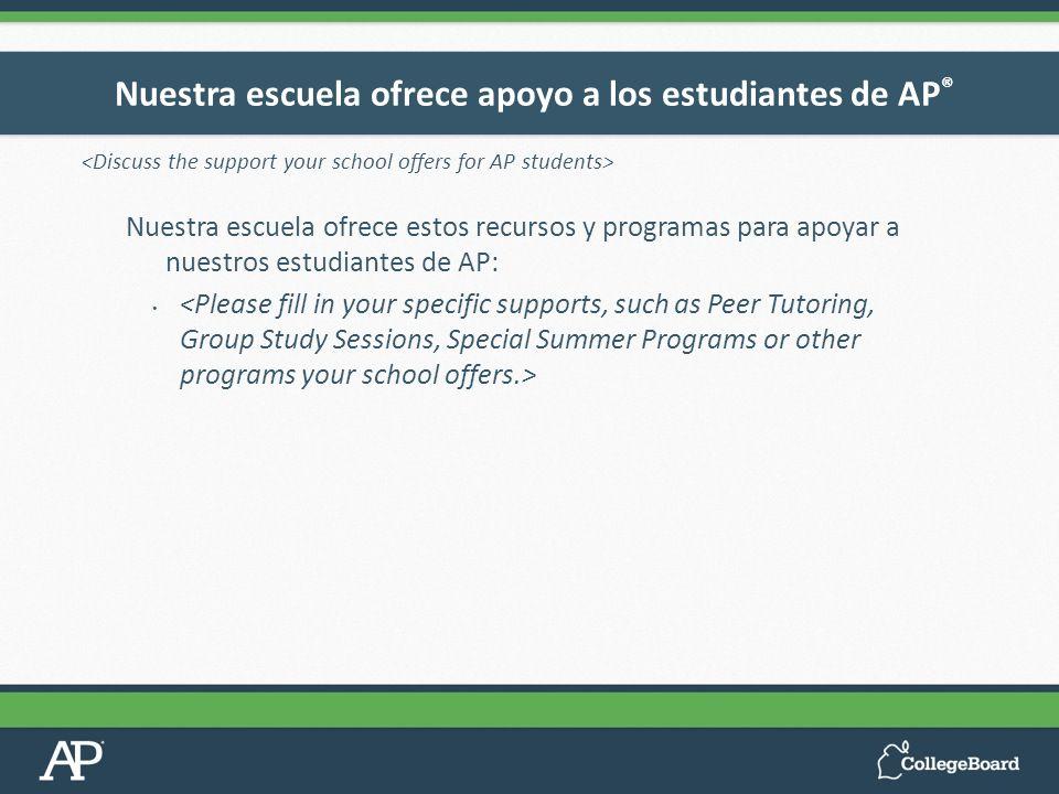 Nuestra escuela ofrece estos recursos y programas para apoyar a nuestros estudiantes de AP: Nuestra escuela ofrece apoyo a los estudiantes de AP ®