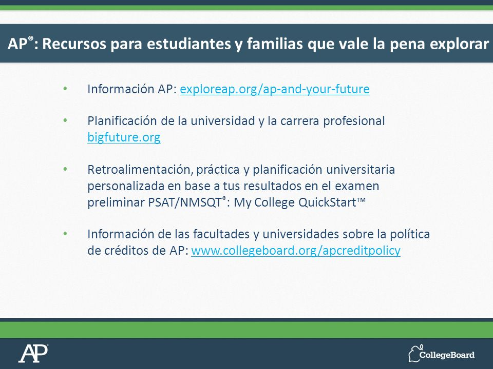 Información AP: exploreap.org/ap-and-your-futureexploreap.org/ap-and-your-future Planificación de la universidad y la carrera profesional bigfuture.or