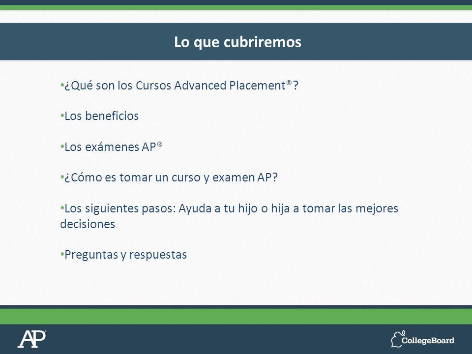 ¿Qué son los Cursos Advanced Placement®? Los beneficios Los exámenes AP® ¿Cómo es tomar un curso y examen AP? Los siguientes pasos: Ayuda a tu hijo o