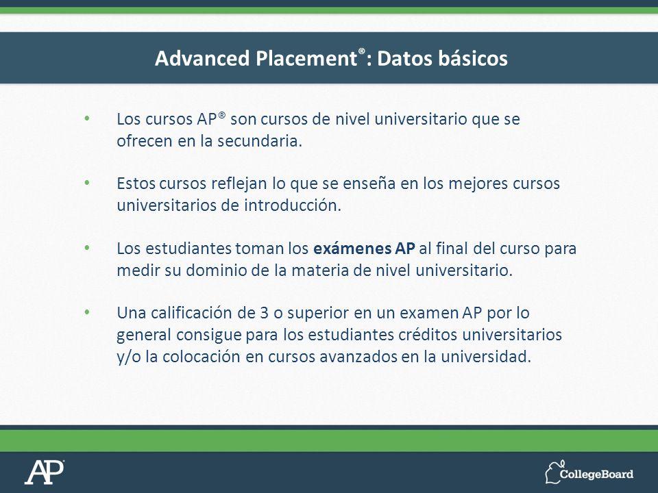 Los cursos AP® son cursos de nivel universitario que se ofrecen en la secundaria. Estos cursos reflejan lo que se enseña en los mejores cursos univers