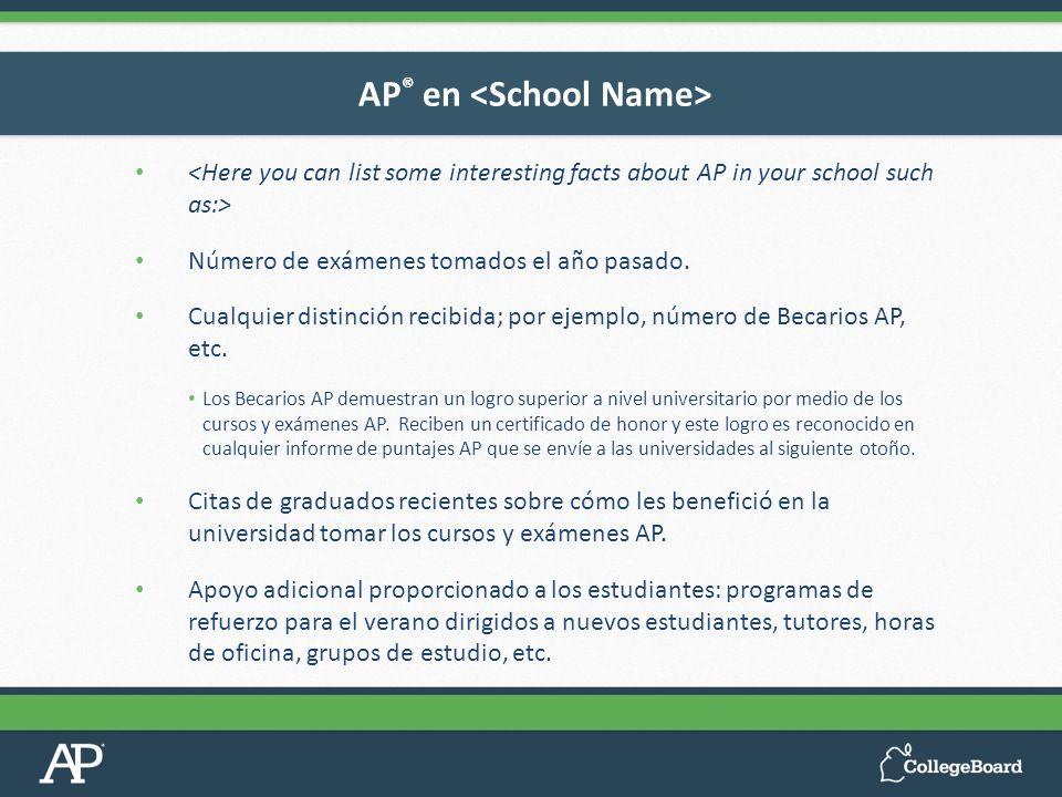 Número de exámenes tomados el año pasado. Cualquier distinción recibida; por ejemplo, número de Becarios AP, etc. Los Becarios AP demuestran un logro