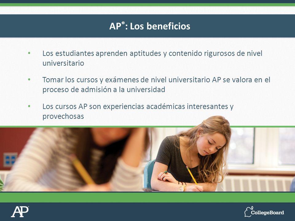 Los estudiantes aprenden aptitudes y contenido rigurosos de nivel universitario Tomar los cursos y exámenes de nivel universitario AP se valora en el