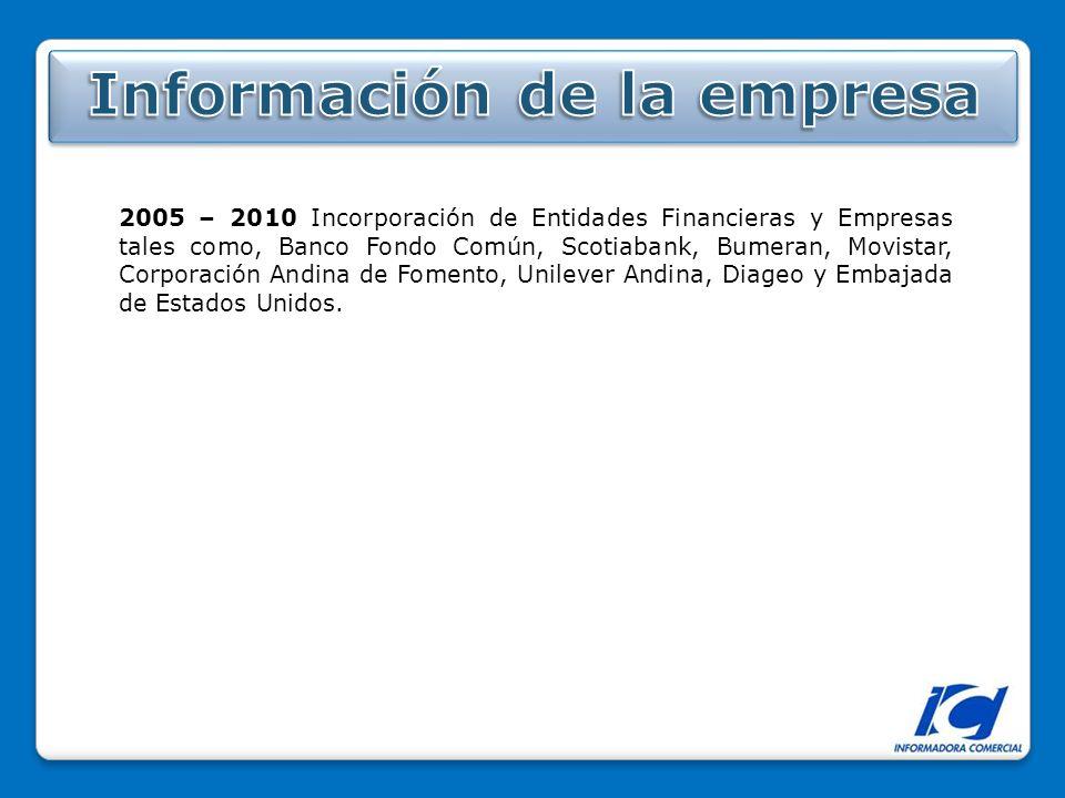 2005 – 2010 Incorporación de Entidades Financieras y Empresas tales como, Banco Fondo Común, Scotiabank, Bumeran, Movistar, Corporación Andina de Fomento, Unilever Andina, Diageo y Embajada de Estados Unidos.