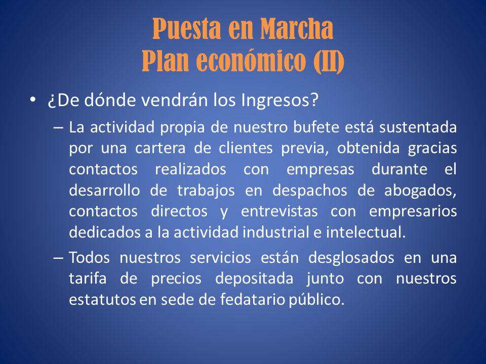 Puesta en Marcha Plan económico (II) ¿De dónde vendrán los Ingresos? – La actividad propia de nuestro bufete está sustentada por una cartera de client