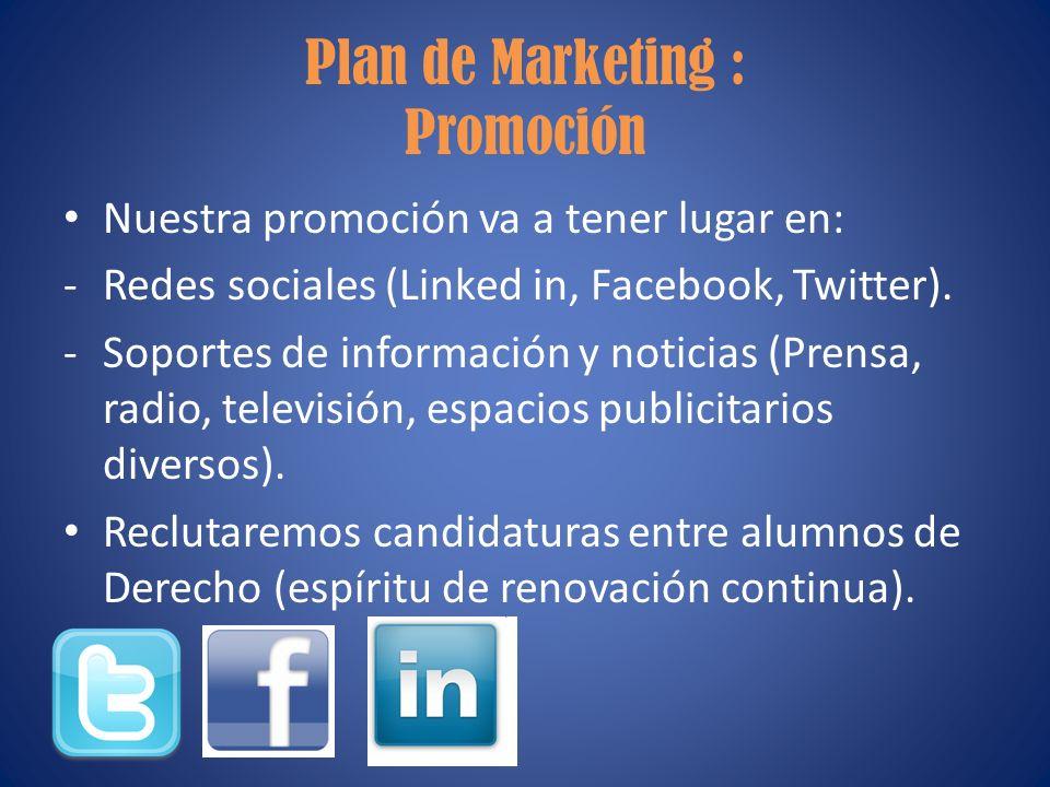 Plan de Marketing : Promoción Nuestra promoción va a tener lugar en: -Redes sociales (Linked in, Facebook, Twitter). -Soportes de información y notici