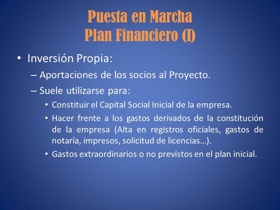 Puesta en Marcha Plan Financiero (I) Inversión Propia: – Aportaciones de los socios al Proyecto. – Suele utilizarse para: Constituir el Capital Social