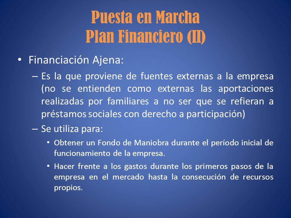 Puesta en Marcha Plan Financiero (II) Financiación Ajena: – Es la que proviene de fuentes externas a la empresa (no se entienden como externas las apo