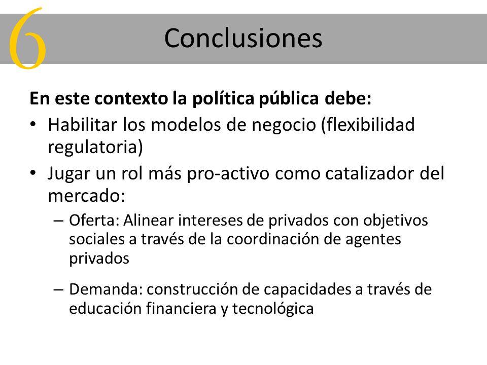 Conclusiones En este contexto la política pública debe: Habilitar los modelos de negocio (flexibilidad regulatoria) Jugar un rol más pro-activo como c