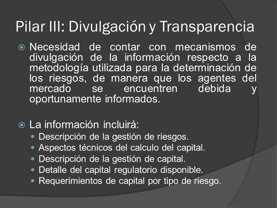 Pilar III: Divulgación y Transparencia Necesidad de contar con mecanismos de divulgación de la información respecto a la metodología utilizada para la