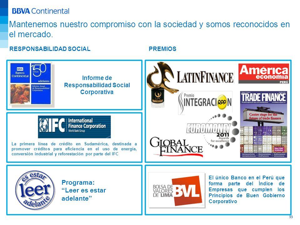 PREMIOSRESPONSABILIDAD SOCIAL Mantenemos nuestro compromiso con la sociedad y somos reconocidos en el mercado. Informe de Responsabilidad Social Corpo