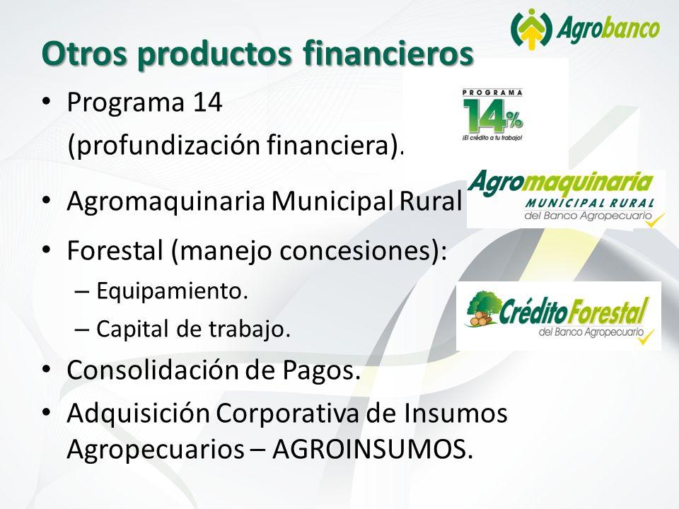 Programa 14 (profundización financiera). Agromaquinaria Municipal Rural Forestal (manejo concesiones): – Equipamiento. – Capital de trabajo. Consolida