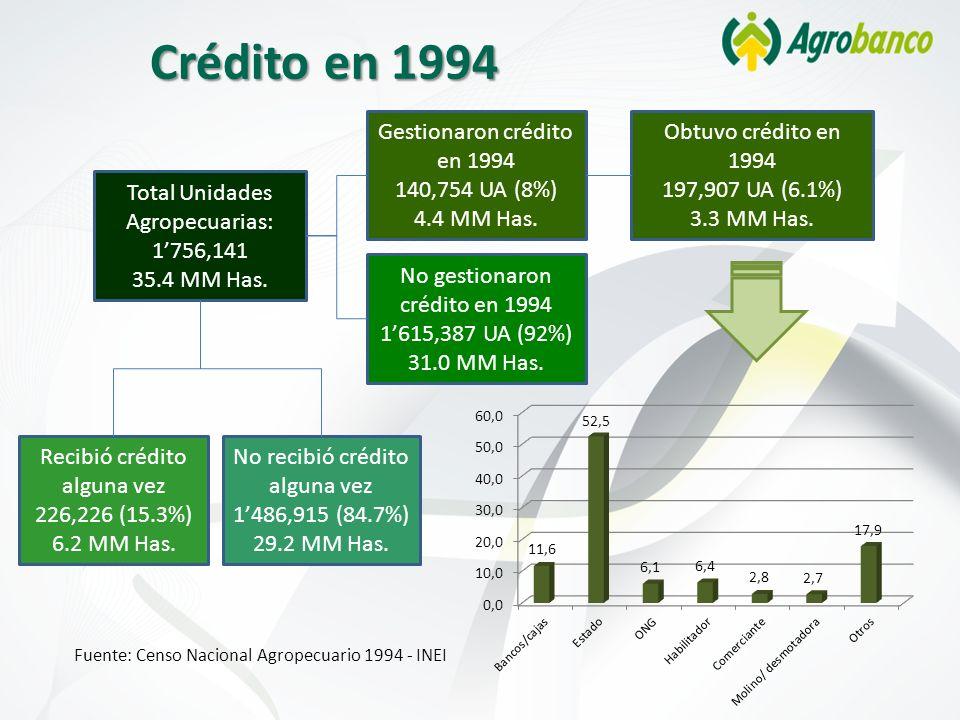 Crédito en 1994 Total Unidades Agropecuarias: 1756,141 35.4 MM Has. Gestionaron crédito en 1994 140,754 UA (8%) 4.4 MM Has. Obtuvo crédito en 1994 197