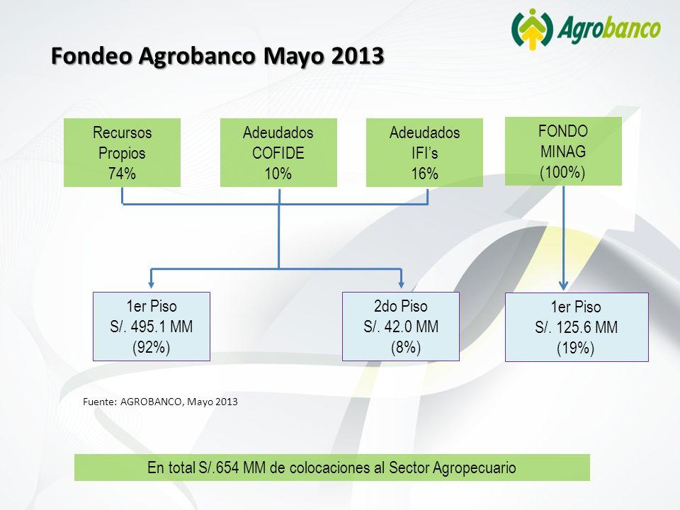 Recursos Propios 74% Adeudados COFIDE 10% En total S/.654 MM de colocaciones al Sector Agropecuario Fuente: AGROBANCO, Mayo 2013 1er Piso S/. 495.1 MM