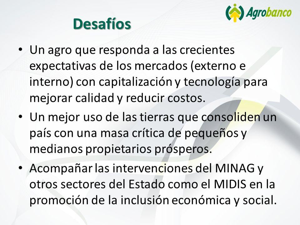Desafíos Un agro que responda a las crecientes expectativas de los mercados (externo e interno) con capitalización y tecnología para mejorar calidad y