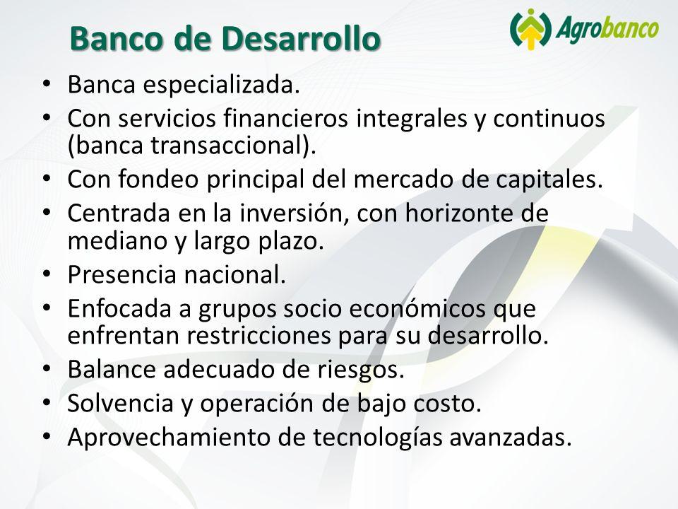 Banco de Desarrollo Banca especializada. Con servicios financieros integrales y continuos (banca transaccional). Con fondeo principal del mercado de c