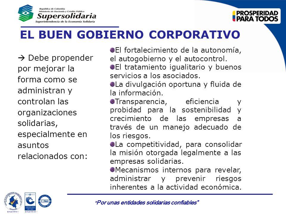 Por unas entidades solidarias confiables Certificado Nº GP 006 - 1Certificado Nº SC 3306- 1 EL BUEN GOBIERNO CORPORATIVO Debe propender por mejorar la
