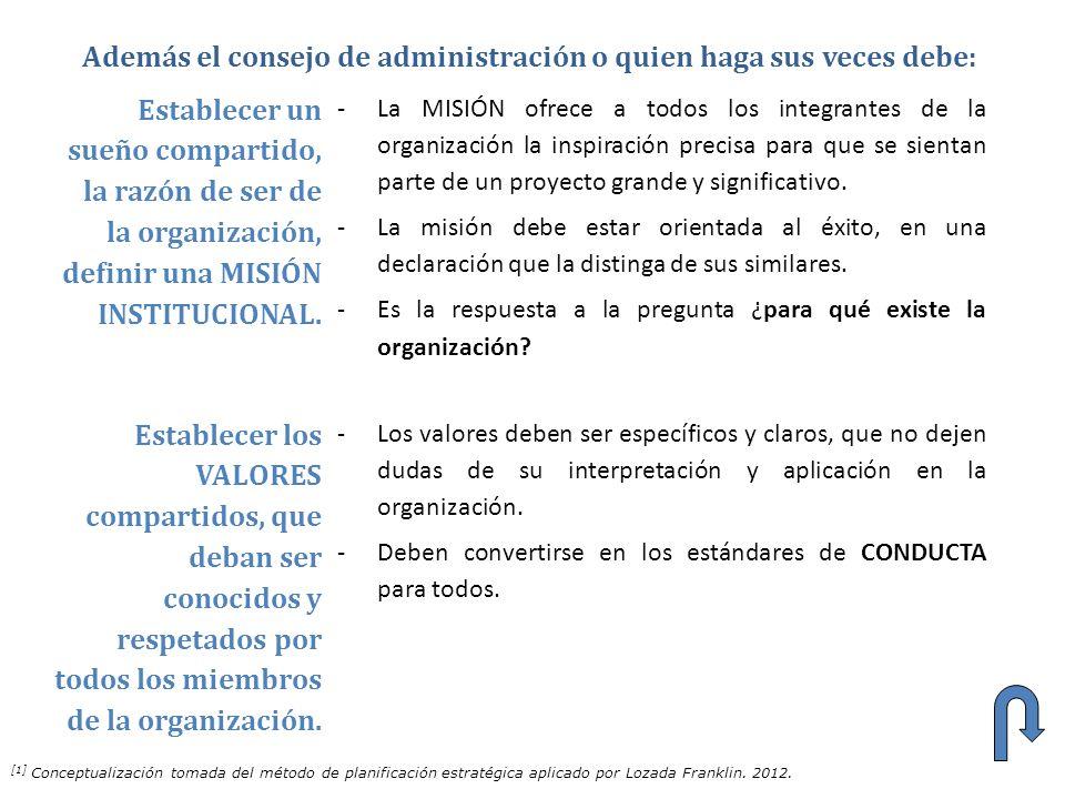 Establecer un sueño compartido, la razón de ser de la organización, definir una MISIÓN INSTITUCIONAL. -La MISIÓN ofrece a todos los integrantes de la