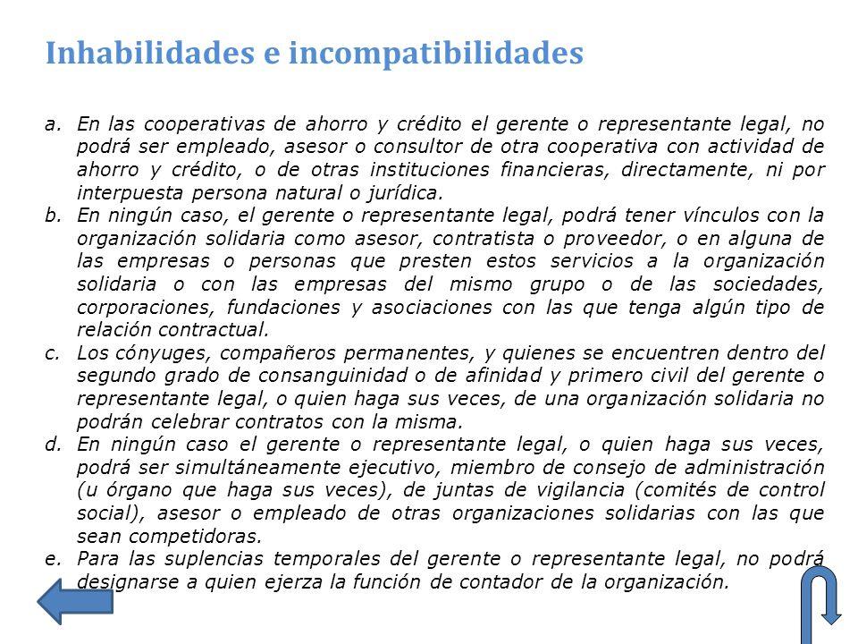 Inhabilidades e incompatibilidades a.En las cooperativas de ahorro y crédito el gerente o representante legal, no podrá ser empleado, asesor o consult