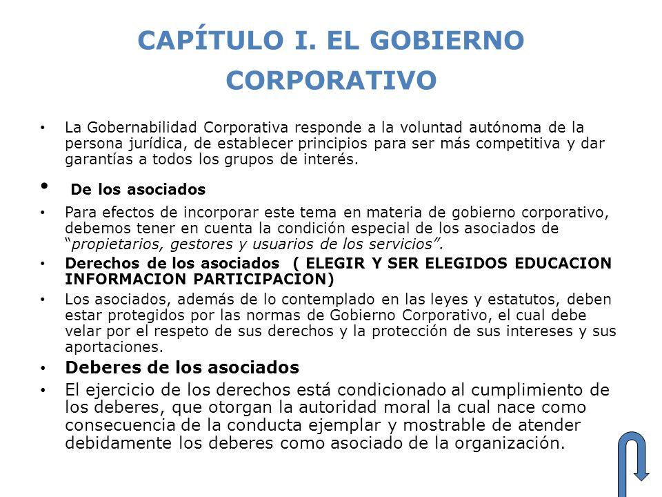 CAPÍTULO I. EL GOBIERNO CORPORATIVO La Gobernabilidad Corporativa responde a la voluntad autónoma de la persona jurídica, de establecer principios par