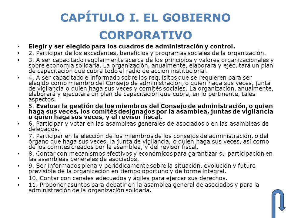 CAPÍTULO I. EL GOBIERNO CORPORATIVO Elegir y ser elegido para los cuadros de administración y control. 2. Participar de los excedentes, beneficios y p