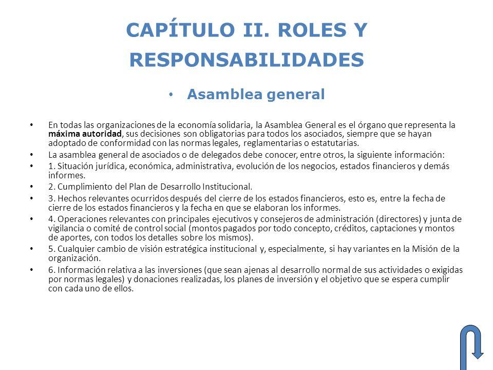 CAPÍTULO II. ROLES Y RESPONSABILIDADES Asamblea general En todas las organizaciones de la economía solidaria, la Asamblea General es el órgano que rep